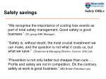 safety savings