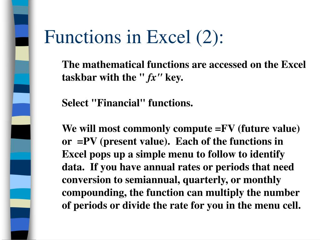 Functions in Excel (2):
