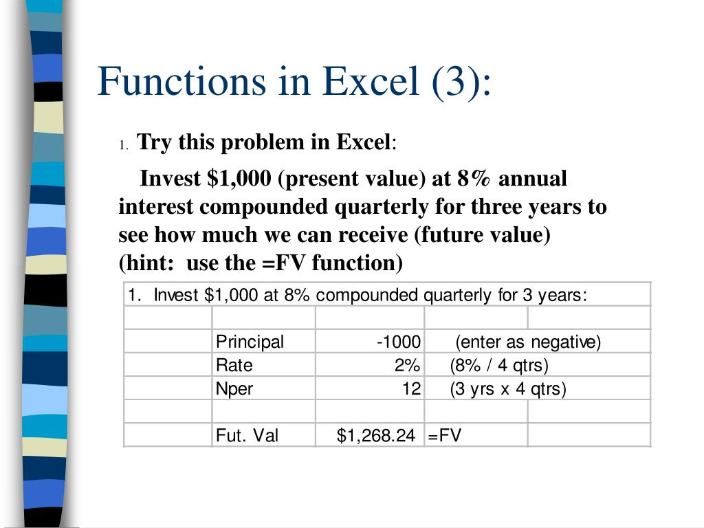Functions in Excel (3):