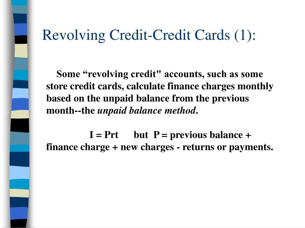 Revolving Credit-Credit Cards (1):