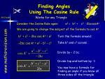 finding angles using the cosine rule