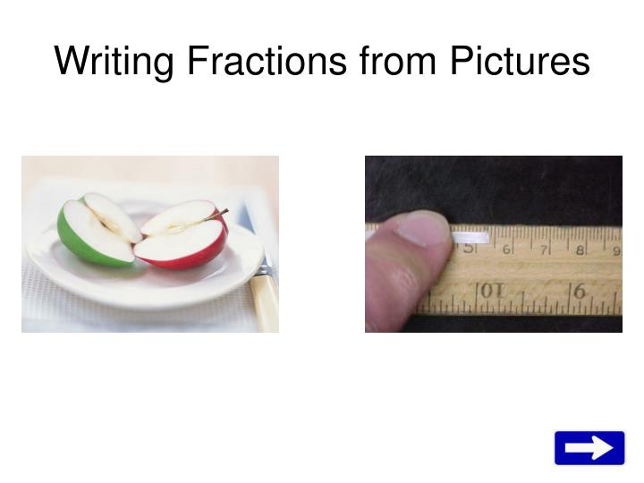 writing fractions from pictures n.