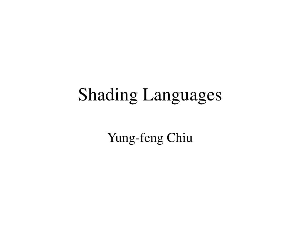 shading languages l.
