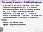 comparing characters collating sequence