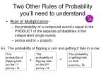 two other rules of probability you ll need to understand