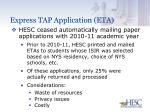 express tap application eta