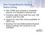 new comprehensive student status listing