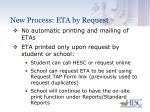 new process eta by request