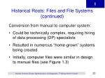 historical roots files and file systems continued20