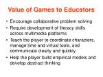 value of games to educators