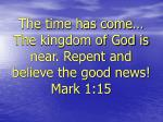 the time has come the kingdom of god is near repent and believe the good news mark 1 15