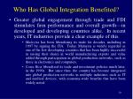 who has global integration benefited