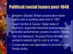 political social issues post 1848