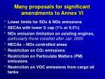 many proposals for significant amendments to annex vi