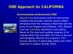 one approach for california