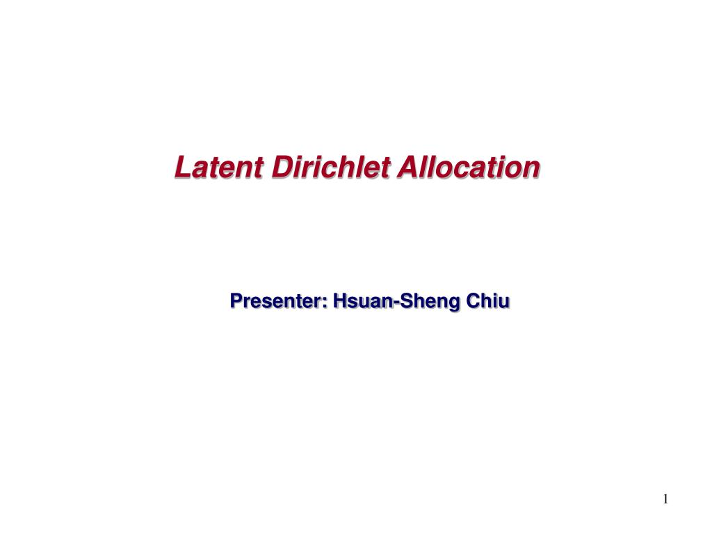 latent dirichlet allocation l.