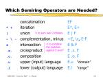which semiring operators are needed
