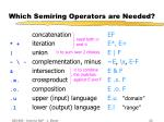 which semiring operators are needed19