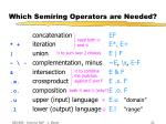 which semiring operators are needed21