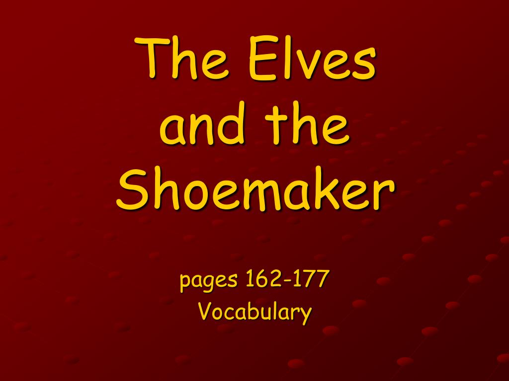 the elves and the shoemaker l.