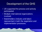 development of the ghs