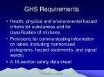 ghs requirements