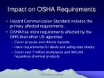 impact on osha requirements