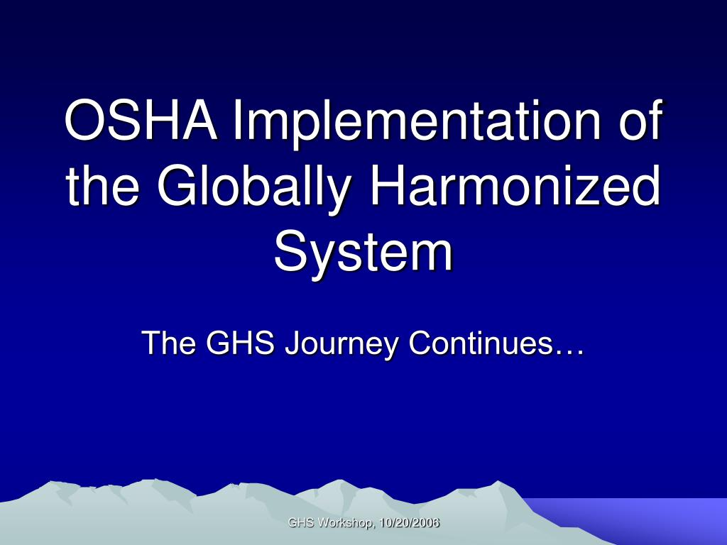 osha implementation of the globally harmonized system l.