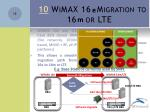 10 wimax 16 migration to 16 or lte