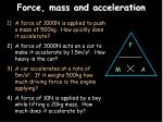 force mass and acceleration