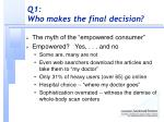 q1 who makes the final decision