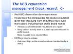 the hco reputation management track record c