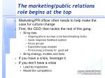 the marketing public relations role begins at the top