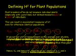 defining h 2 for plant populations