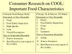 consumer research on cool important food characteristics