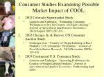 consumer studies examining possible market impact of cool