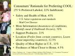 consumers rationale for preferring cool 75 preferred labeled 22 indifferent