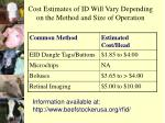 cost estimates of id will vary depending on the method and size of operation