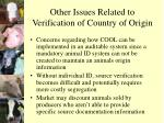 other issues related to verification of country of origin