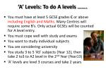 a levels to do a levels