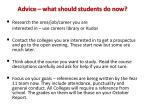 advice what should students do now