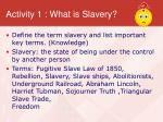activity 1 what is slavery