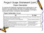 project scope statement cont