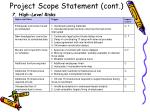 project scope statement cont9