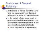 postulates of general relativity