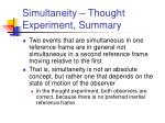 simultaneity thought experiment summary