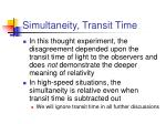 simultaneity transit time