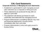 cal card statements corporate summary or managing account statements
