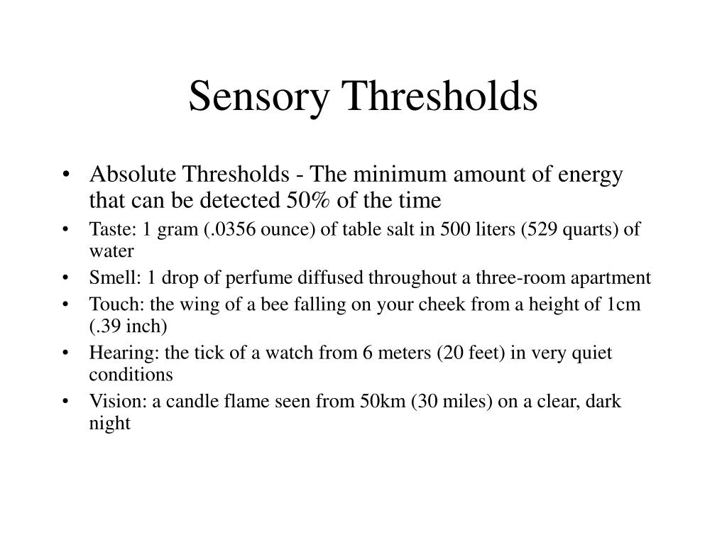 sensory thresholds l.
