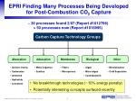 epri finding many processes being developed for post combustion co 2 capture